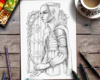Printable Adult Coloring Page | Fantasy | Grayscale Illustration | Zan Von Zed