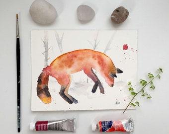 Jumping Fox, Original Watercolor Painting