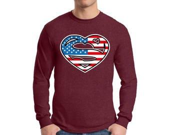 USA Heart Flag Long Sleeve Shirts for Men USA T shirts Tees Fourth of July shirt USA Flag 4th of July shirt Heart