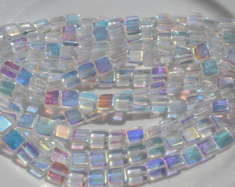 Clear AB 8mm Flat Square Czech Glass Beads  25