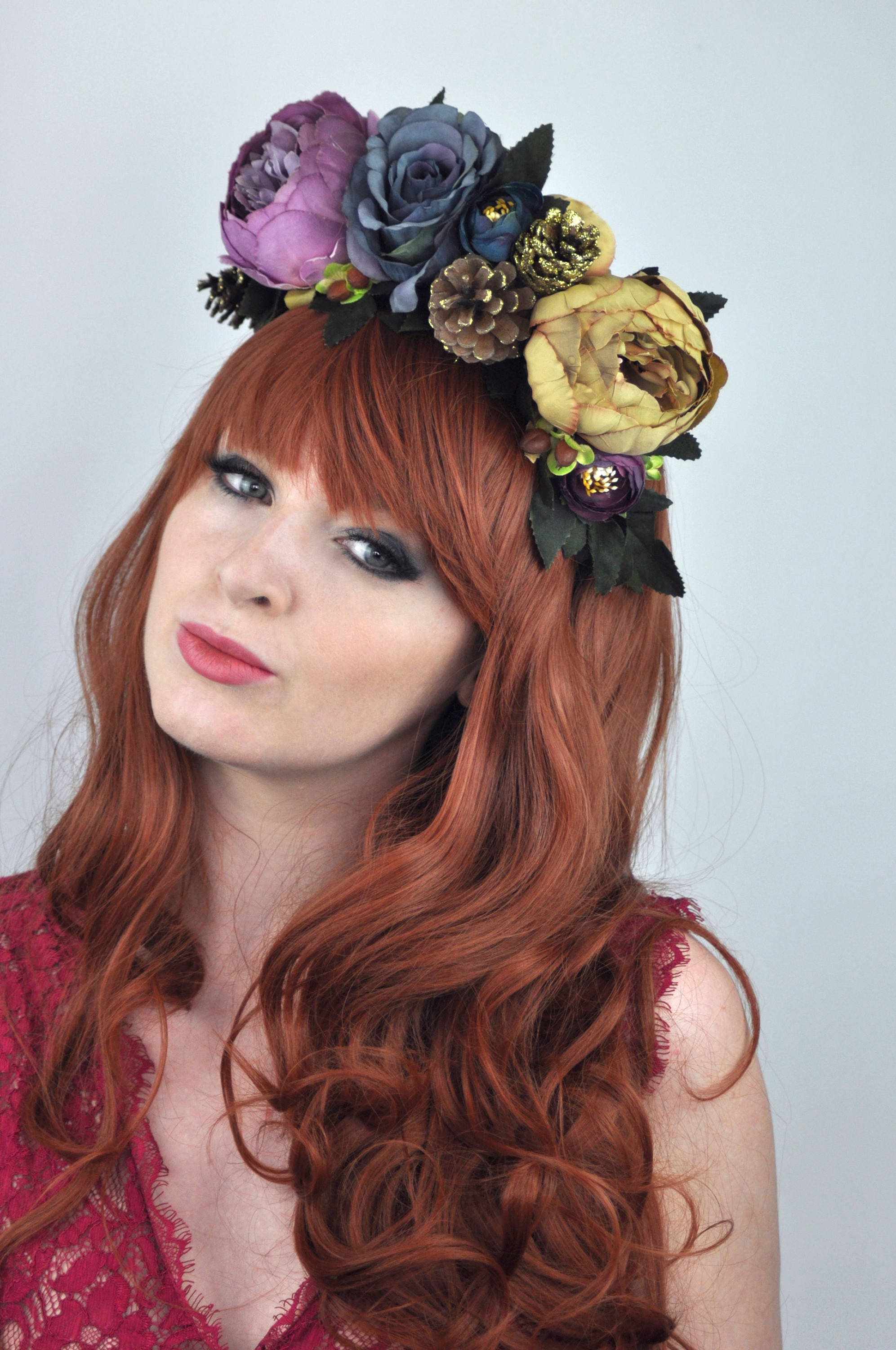 Fall Flower Crown Headpiece In Purple And Blue Fall