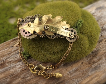 Oak Leaf Acorn Be Strong Steampunk Brass Bracelet