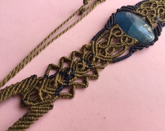 blue onyx macrame chocker