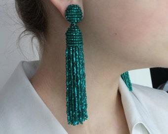 Beautiful Handmade Beaded Emerald Green Tassel Clip on Earrings in the style of Oscar de la Renta. Custom colors available