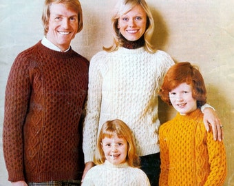 Family Aran 10 ply & DK  Jumper / Sweater for Sizes 22 - 44 ins - Studley 816 - PDF of  Vintage Knitting Pattern Instant Download
