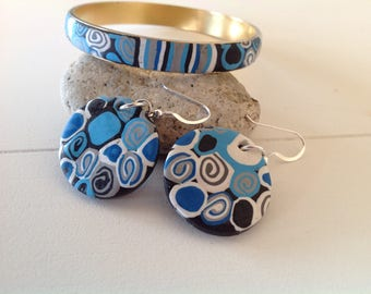 Polymer clay bangle and earings