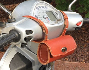 Leather Vespa Scooter Bag Tool Pouch Day or Ditty Bag,   Chestnut Leather Roll Bag Bicycle Rollbag