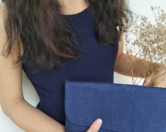 Navy Linen envelope clutch/ Linen clutch/Elegant Bridal bag / wedding purse/Envelope Clutch/for her/ Bridesmaids gift/dinner clutch