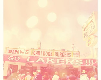 Pinks hot dogs photograph, Los Angeles Lakers banner, famous, food, dreamy pink city, basketball fans California print