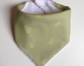 Bib - bandana green pineapple with white Terry cloth / bib