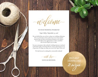 Editable PDF Wedding Itinerary Card Welcome Bag Note Calligraphic Welcome Letter Template Instant download card DIY Printable Gold #DP130_40