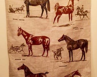 HORSES  Savitt Tea Towel/Horses Tea Towel Irish Linen/Ulster Horse Tea Towel/Sam Savitt HORSES/Linen Horse Tea Towel/Sam Savitt