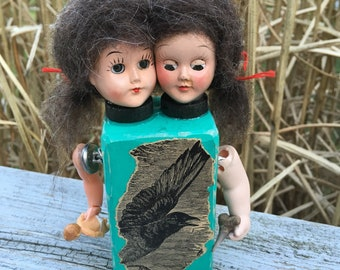 Creepy cute conjoined twins OOAK assemblage art doll