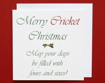 Cricket Christmas card, Merry Cricket Christmas, cricket Xmas card, fours and sixes, cricket card,