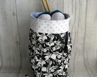 Panda Knitting Project Bag, Crochet Project Bag,  Panda Sock Project Bag, Reversible, crochet, weaving, embroidery, craft projects, dice,