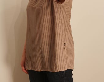 Striped Oversized Taupe 90s Blouse S M