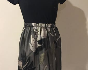 Black Chiffon Skirt with Silk Flowers