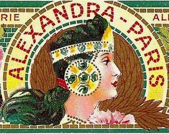 French Vintage Soap Label Alexandra Paris jpeg instant digital download