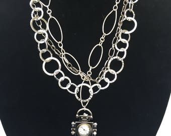 Silver chains necklace with robot clock pendant