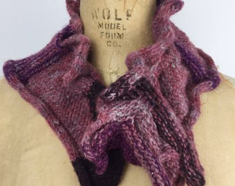 Knit and felted burgandy waves collar