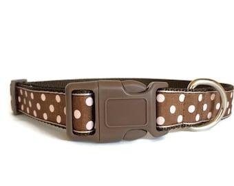 Brown and Light Pink Polka Dot Dog Collar - Adjustable, 1 inch width, sweet girl dog