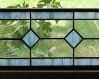 "Geometric Transom Light blue and Clear--6.5"" x 24""--Stained Glass Window Panel"