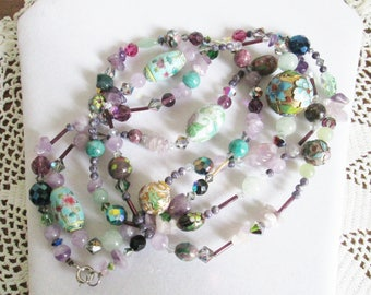 Vintage Bead Soup Necklace with a MultiTude of Beads, Statement Necklace, OOAK, 56 Inches Long, Flapper Necklace, Beaded to the Nines Diva