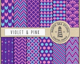 FUCHSIA   Violet And Pink Paper   Digital Scrapbooking Paper   Printable Backgrounds   12 JPG, 300dpi Files   Coupon Code: BUY5FOR8