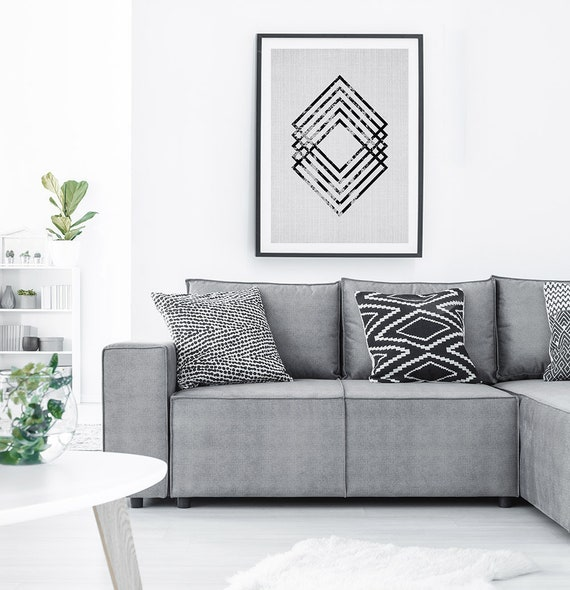 Scandinavian Decor, Printable Wall Art, Digital Download, Black and White Geometric Abstract Print, Geometric Scani Scandinavian Home Decor