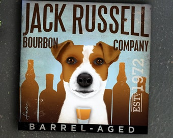 Jack russell terrier dog Bourbon Company graphic art on gallery wrapped canvas by fowler