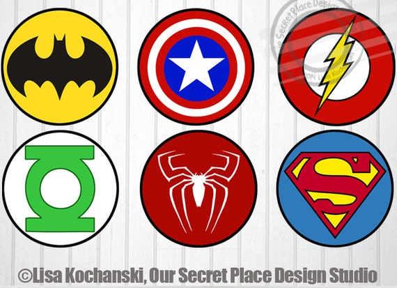 Instant download superhero logo stickers superhero stickers