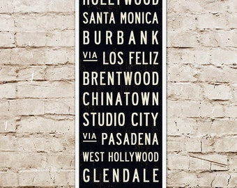 SMALL LA Subway Sign, Los Angeles Art, LA Print, Bus Scroll, California Art Print, Mid Century Wall Art, Typography Art, Industrial Decor.