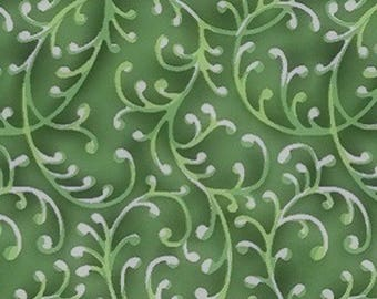 """Green Swirly Vines 108"""" wide quilt back 100% cotton fabric"""
