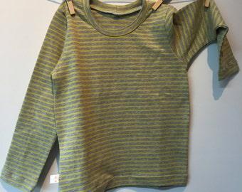 Grey yellow striped long sleeve tshirt, eco, 104 mt
