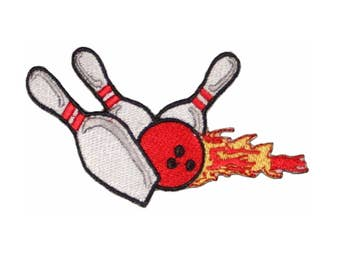 Bowling Pins & Ball Strike FLAMES Embroidered Iron or sew on Patch Applique 4""