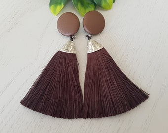 Brown Faux Leather Button/Brown Tassel Earrings - Hypo-Allergenic