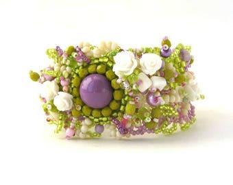 Bracelet for women, Beaded bracelet, Unique gift  for women,  Floral Bracelet, Statement jewelry, Beaded jewelry, Handmade jewellery