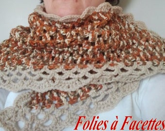 snood bronzed and sand wool crocheted shawl