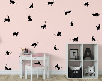 Cat Wall Decal, Kitten Wall Decal, 21 Cats Sticker,Kitty Decal Kids Room