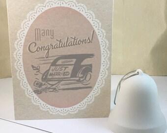 Wedding Congratulations Card - Retro Vintage Wedding, Gatsby Wedding, Gift for Bride and Groom, Art Deco - Digital Download or Print