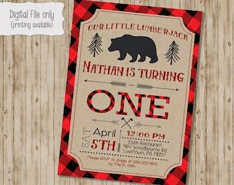 Lumberjack Birthday Invitation, Lumberjack First Birthday Invite, Woodland, Rustic, Lumberjack Birthday, Bear, Buffalo Plaid, Timber, Plaid