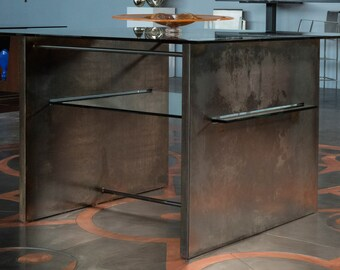 """Glass and Steel Reception Table """"Fortify"""""""