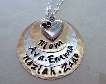 Stacked Mom Necklace - Hand Stamped Personalized Necklace- Mixed Metals and Heart - Custom Names - Mothers Day Gift - Mother Necklace - S63
