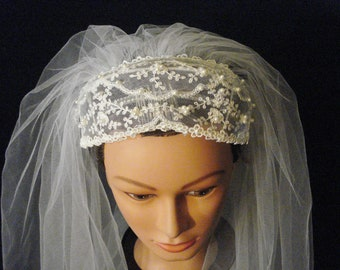 Wedding Bridal Veil Headdress White Tulle Lace Pearls Chic