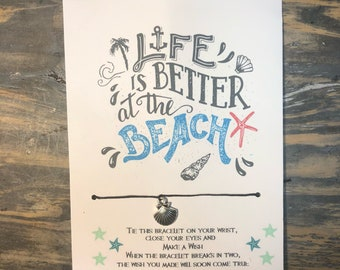 Life is better at the beach wish bracelet.Ocean life-Beach life- friendship bracelet.Sea shell wish bracelet.sea wish bracelet.beach jewelry