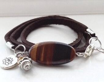 Leather triple wrap bracelet, Leather Women's Wrap Bracelet, Leather Charm Bracelet, Gemstone Wrap Bracelet for Women, Ladies Wrap Bracelet