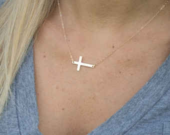 Gold/Silver/Rose Gold Sideways Cross Necklace, Celebrity Jewelry, Cross Necklace, Off Center Cross Necklace, Gift for her, Religious