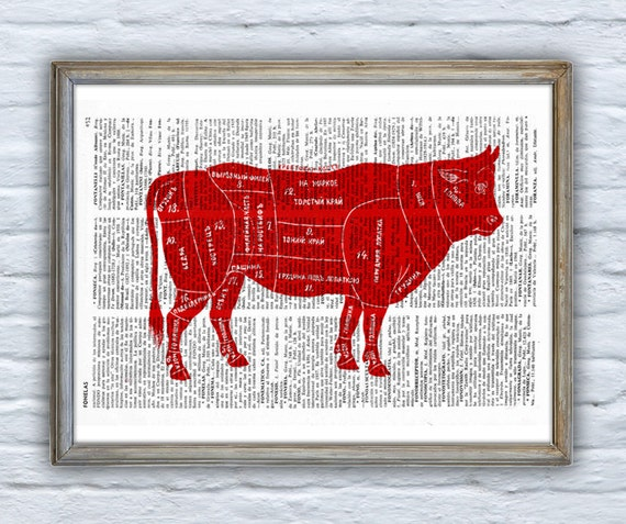 Cuts of Beef Dictionary Book Print Altered art  Wall art print, beef cuts art, kitchen wall decor, art print ANI158