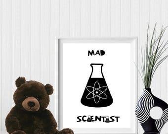 Mad scientist, mad scientist print, nursery print, nursery printable, printable nursery decor, typography, scientist, scientist print