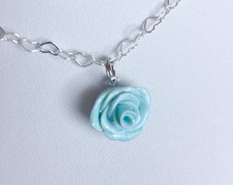 Aqua Sparkle Rose necklace - Polymer clay charms - Miniature flower jewelry - kawaii necklace -blue rose - turquoise jewelry